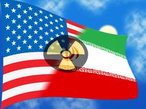 Iran kärn- tecken - avtalsförhandling eller samtal med USA - 2d illustration royaltyfri illustrationer