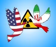 Iran-Kernabkommen-Verhandlung oder Gespräche mit USA - 2d Illustration stockbilder
