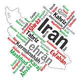 Iran map and cities. Map of Iran and text design with major cities Royalty Free Stock Image