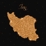 Iran map filled with golden glitter. Stock Photos