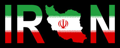 Iran with map on flag Stock Image