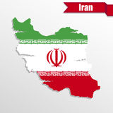 Iran map with flag inside and ribbon Stock Image