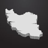 Iran map in gray on a black background 3d Royalty Free Stock Photo