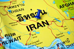 Iran map. Macro shot of Iran map with push pin Royalty Free Stock Images