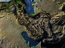 Iran and Pakistan region on Earth at night - visible ocean floor Royalty Free Stock Images