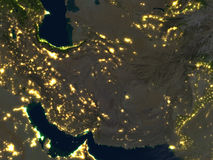 Iran and Pakistan region at night on planet Earth Stock Images