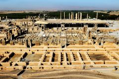 Iran. Persepolis is the capital of the ancient Achaemenid kingdom. Ancient ruins. Persia. View from above.  Stock Photos