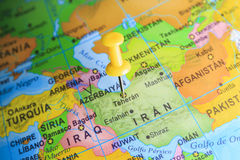 Iran pinned on a map of Asia stock photo