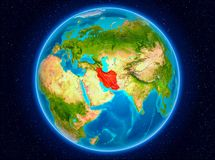 Iran on Earth. Iran in red from Earth's orbit. 3D illustration. Elements of this image furnished by NASA stock photos