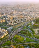 Iran road overpass. Tehran. Aerial view of a road overpass in Tehran, Iran Royalty Free Stock Photos