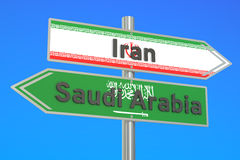 Iran and Saudi Arabia crisis conflict concept, 3D rendering Stock Images
