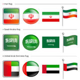 Iran and Saudi, Arabia Flag Icon Royalty Free Stock Images