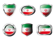 Iran set shiny buttons and shields of flag Stock Photo