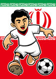 Iran soccer player with flag background Royalty Free Stock Photo