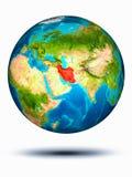 Iran ter wereld met witte achtergrond Royalty-vrije Stock Foto