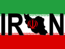 Iran text with map Stock Photo