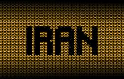 Iran text on radioactive warning symbols illustration. Iran text on numerous radioactive warning symbols abstract background illustration Stock Photo