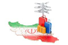 Iran travel concept. Iranian flag on map with suitcases and sign. Post Royalty Free Stock Photo
