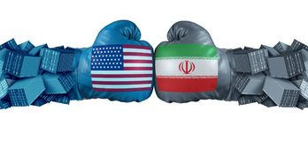 Iran United States or USA economic sanctions conflict with two opposing trade partners as import and exports dispute concept with stock illustration