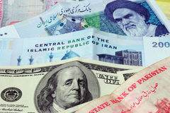 Iran and us dollar Stock Photos