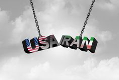 Iran USA conflict concept as an American and Iranian security crisis due to economic sanctions and Nuclear deal agreement dispute stock illustration
