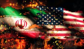 Iran USA Flag War Torn Fire International Conflict 3D Royalty Free Stock Photos