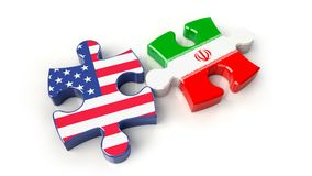 Iran and USA flags on puzzle pieces. Political relationship conc. Ept. 3D rendering Royalty Free Stock Photo