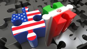 Iran and USA flags on puzzle pieces. Political relationship concept. 3D rendering Stock Photo
