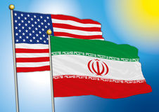 Iran and usa flags Stock Photography