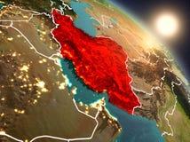 Iran van ruimte tijdens zonsopgang Royalty-vrije Stock Afbeeldingen