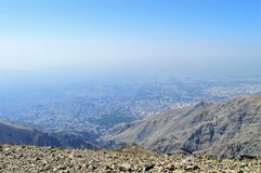 Iran.  View of Tehran from Tochal Mountain base camp. stock image