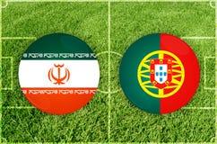 Iran vs den Portugal fotbollsmatchen Royaltyfria Bilder