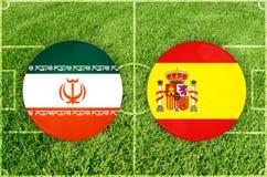 Iran vs den Spanien fotbollsmatchen Fotografering för Bildbyråer