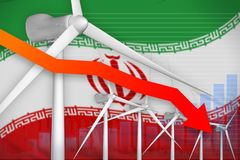 Iran wind energy power lowering chart, arrow down - green natural energy industrial illustration. 3D Illustration. Iran wind energy power lowering chart, arrow stock illustration
