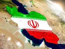 Iran z flaga w powstającym słońcu Obraz Stock