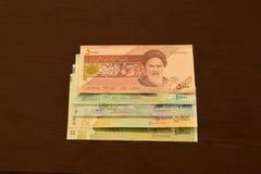 Iranian Banknotes, 5000 rials, 10000 rials, 20000 rials, 50000 rials and 100000 rials royalty free stock photos