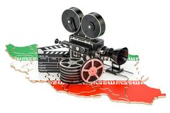 Iranian cinematography, film industry concept. 3D rendering. Isolated on white background Royalty Free Stock Photo