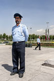 Iranian cop on Azadi square. The police man on Azadi square, he was full of beard and nice royalty free stock photography