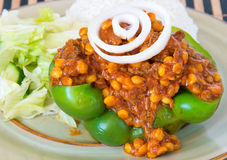 Iranian Cuisine: Khoreshte Ghimeh Ghimeh. Served in a green bell pepper, lettuce salad and white rice Stock Photo