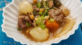 Iranian Dizi Mutton stew. Dizi Mutton stew - Persian cuisine,Traditional Iranian Lamb Chickpea stew stock photography