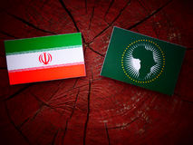 Iranian flag with African Union flag on a tree stump. Iranian flag with African Union flag on a tree stump Royalty Free Stock Photography