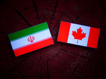 Iranian flag with Canadian flag on a tree stump isolated. Iranian flag with Canadian flag on a tree stump Royalty Free Stock Photos