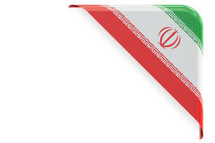 Iranian flag corner, button, label. 3D rendering Stock Photography