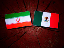 Iranian flag with Mexican flag on a tree stump isolated. Iranian flag with Mexican flag on a tree stump Royalty Free Stock Images