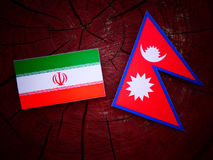 Iranian flag with Nepali flag on a tree stump isolated. Iranian flag with Nepali flag on a tree stump Stock Photography