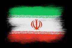 The Iranian flag. Painted grunge flag, brush strokes. Isolated on black background Stock Photos