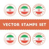 Iranian flag rubber stamps set. National flags grunge stamps. Country round badges collection Stock Images