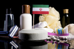 Iranian flag in the soap with all the products for the people hy. Giene Royalty Free Stock Photo