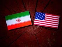 Iranian flag with USA flag on a tree stump. Iranian flag with USA flag on a tree stump Royalty Free Stock Photography