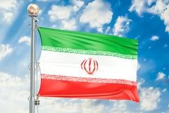 Iranian flag waving in blue cloudy sky, 3D rendering. Iranian flag waving in blue cloudy sky, 3D Stock Photos